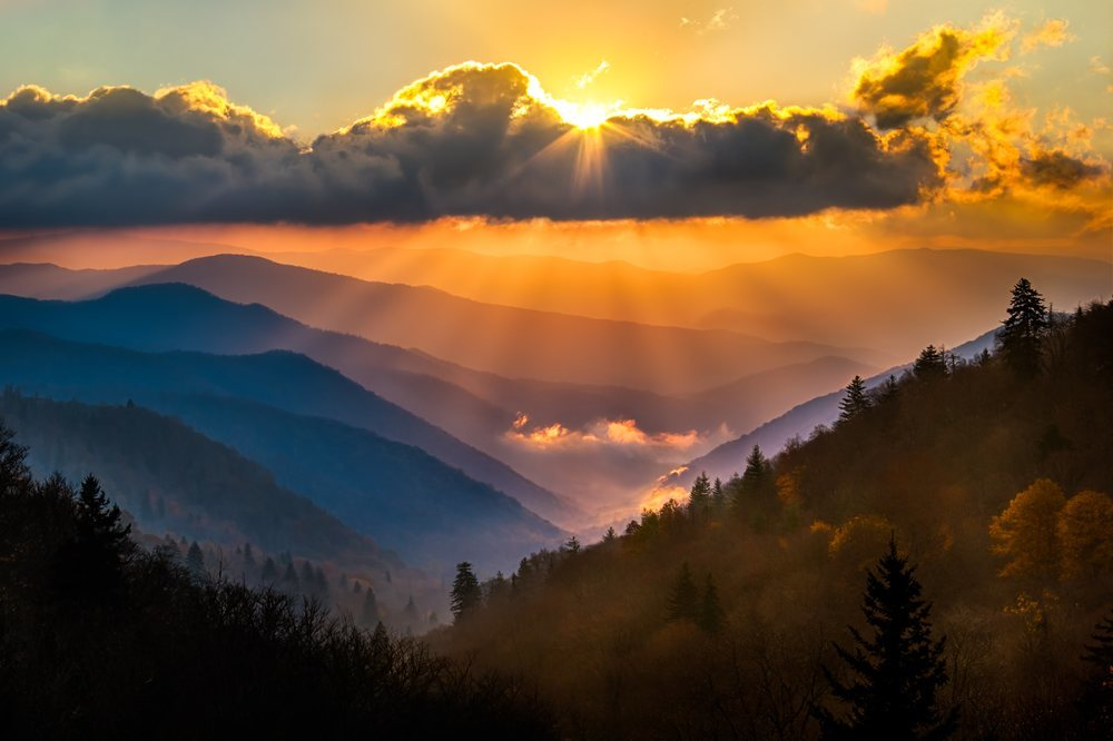 Great Smoky Mountains National Park between North Carolina and Tennessee