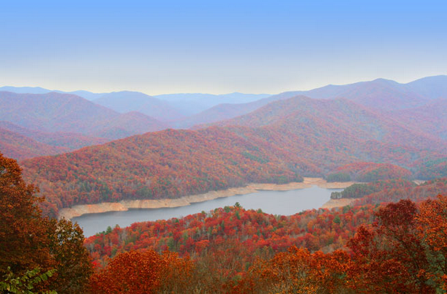 Distance shot of the Great Smokey Mountains covered in red coloured trees. Image is in full colour and has a blue sky background.