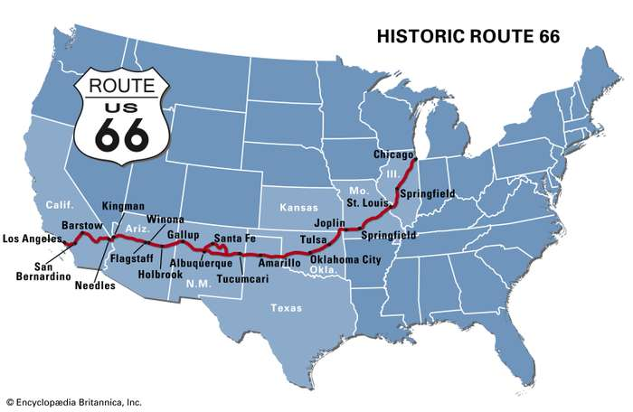 blue map of Route 66 Chicago to Los Angeles