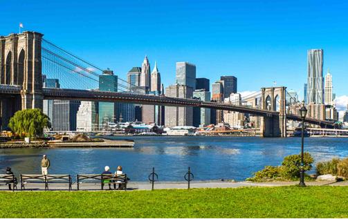 New York City in an RV crossing the Brooklyn Bridge