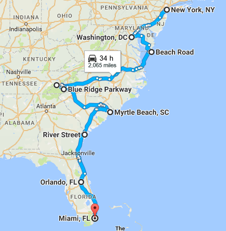 Screenshot of New York to Miami Road Trip