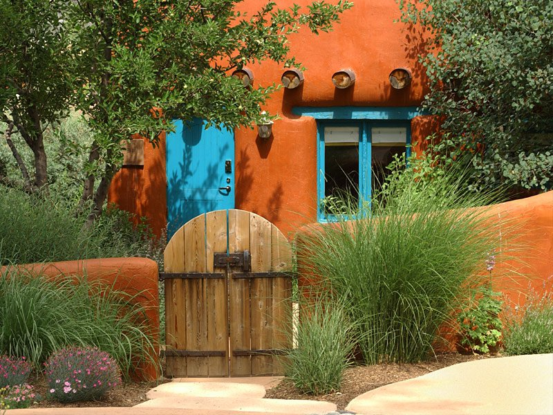 Santa Fe Home with Blue Door