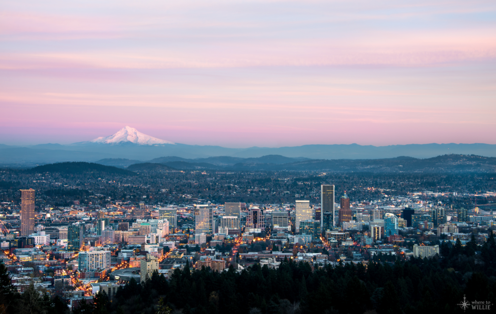 Portland, Oregon Cityscape with Mount Hood in the Distance