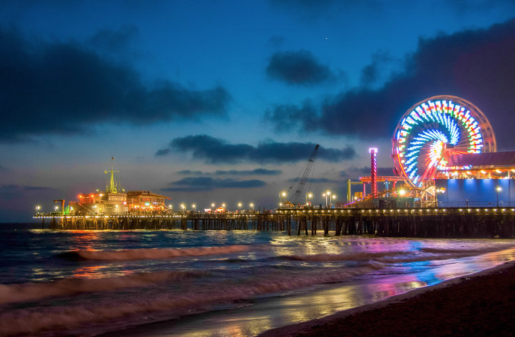 Santa Monica Pier Ferris wheel lights