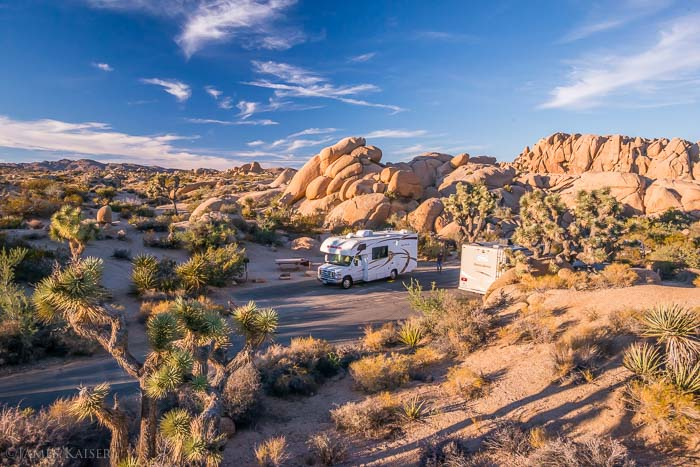RV parked in a campsite in Joshua Tree National Park