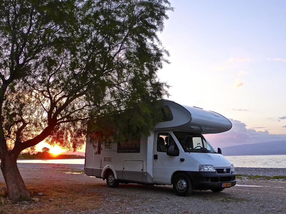 RV Parked at the Beach at Sunset