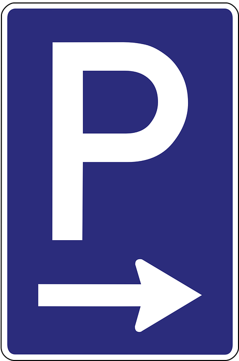 Blue Parking Sign with Arrow