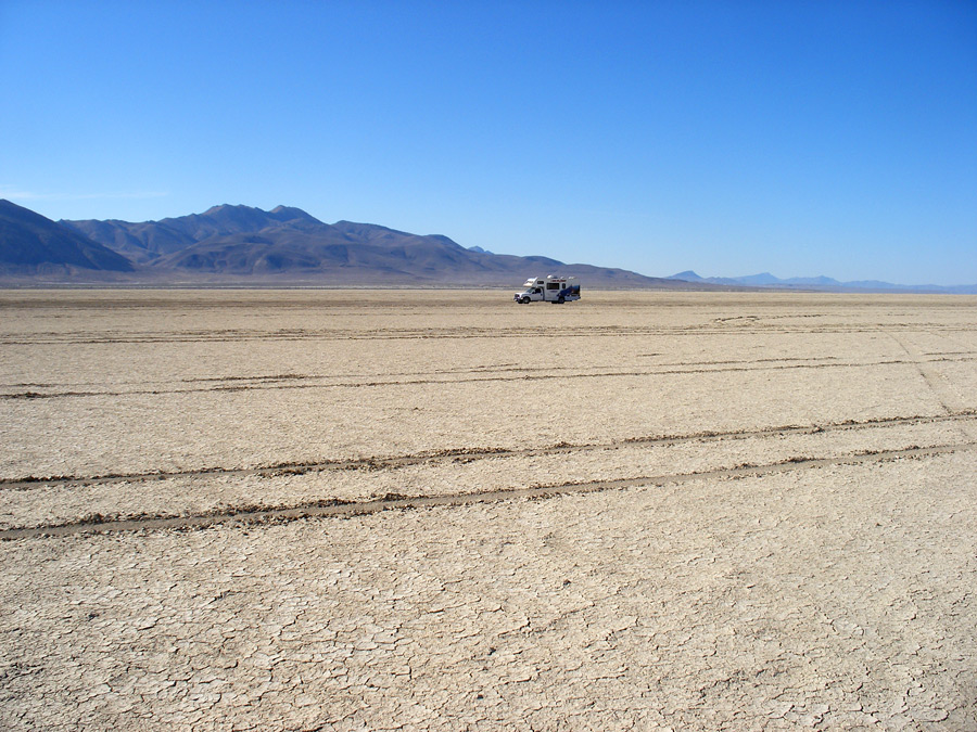 Black Rock Desert with an RV driving by.